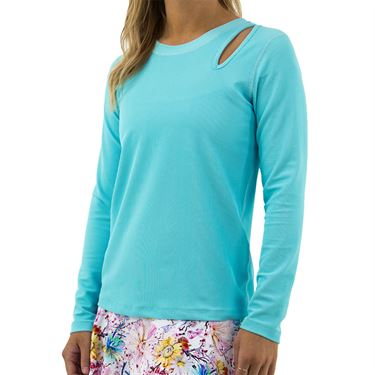 BPassionit Coming Up Daisies Long Sleeve Peak Top Womens Ocean 80179R OCN