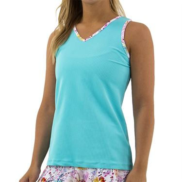 BPassionit Coming Up Daisies V Neck Tank Womens Ocean/Daisies Trim 80279 OCD