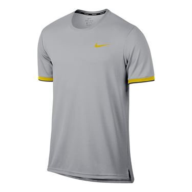 Nike Court Dry Team Crew - Vast Grey/Bright Citron
