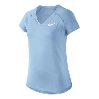 Nike Girls Pure Tennis Top - Hydrogen Blue/White
