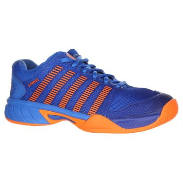 K Swiss Hypercourt Express Junior Tennis Shoe - Brilliant Blue/Neon Orange
