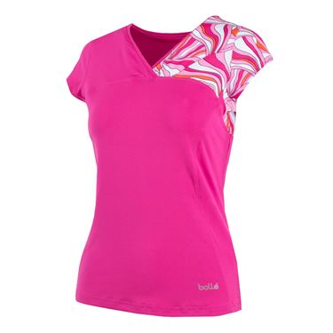 Bolle Color Burst Cap Sleeve Top - Fuchsia