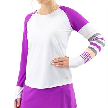 Cross Court Violet Dreams Long Sleeve Top Womens White 8451 30 0110û