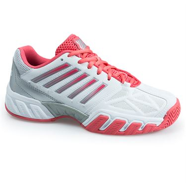 K Swiss Bigshot Light 3 Junior Tennis Shoe - White/ Calypso Coral/ Silver 85366 178 M