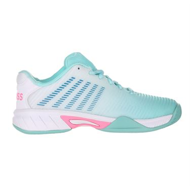 K Swiss Junior Hypercourt Express 2 Tennis Shoe Aruba Blue/White/Soft Neon Pink 86613 439
