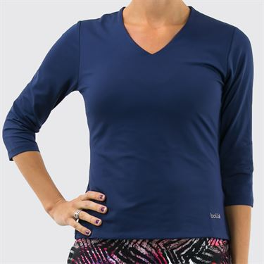 Bolle Womens 3/4 Sleeve V-Neck Top - Navy