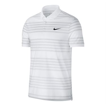 Nike Court Dry Stripe Polo - White/Vast Grey/Black