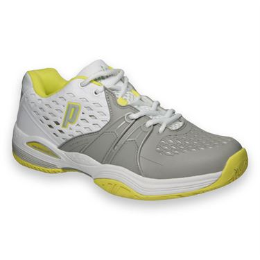 Prince Warrior Womens Tennis Shoe-White/Grey/Citron