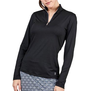 Sofibella UV Feather 1/2 Zipper Long Sleeve Top Womens Black 9004F BLK