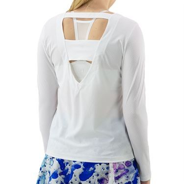 BPassionit Splatter Print Back Plunge Long Sleeve Top Womens White 90858M WHTû