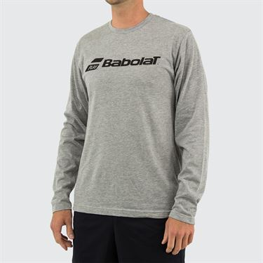 Babolat Long Sleeve Logo Tee Mens Heather Grey 911093 U05