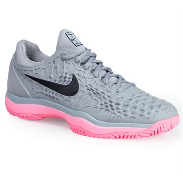 Nike Zoom Cage 3 Mens Tennis Shoe - Grey/Black/Sunset Pulse