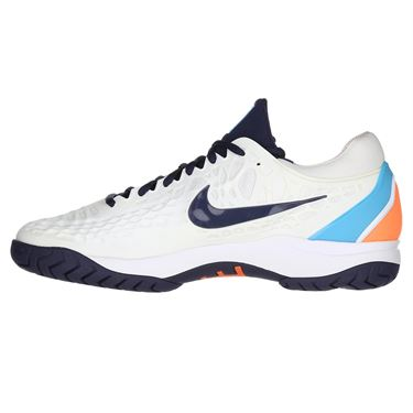 Nike Zoom Cage 3 Mens Tennis Shoe - White/Obsidian/Light Carbon/Light Blue Fury
