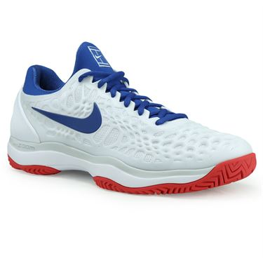 Nike Zoom Cage 3 Mens Tennis Shoe - White/Blue Jay/Pure Platinum/Action Red