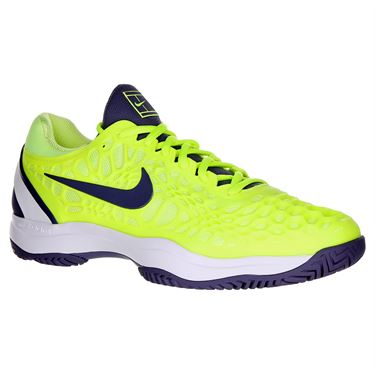 Nike Zoom Cage 3 Mens Tennis Shoe - Volt Glow/Light Carbon/White