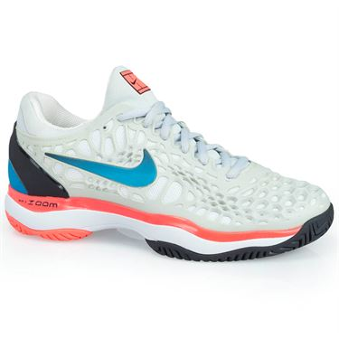 Nike Zoom Cage 3 Womens Tennis Shoe - Platinum/Blue Nebula/Black/Hot Lava