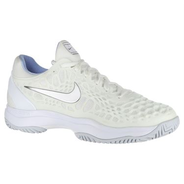 Nike Zoom Cage 3 Womens Tennis Shoe - White/Metallic Silver/Pure Platinum