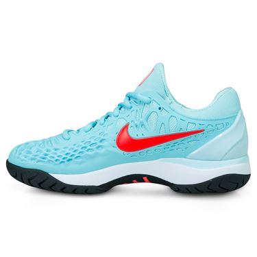 Nike Zoom Cage 3 Womens Tennis Shoe - Still Blue/Bright Crimson/Topaz Mist/Heather
