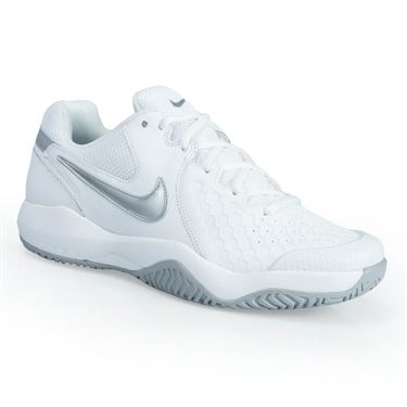 Nike Air Zoom Resistance Womens Tennis Shoe - White/Metallic Silver/ Wolf Grey
