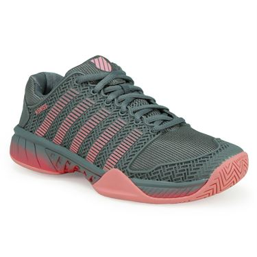 K-Swiss Hypercourt Express Womens Tennis Shoe - Steel Gray/Calypso Coral/Flamingo Pink
