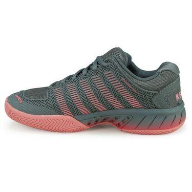 K-Swiss Hypercourt Express Womens Tennis Shoe - Steel Gray/Calypso Coral/Flamingo Pink