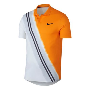 Nike Court Dry Advantage Polo - Orange Peel/Blackened Blue