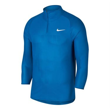 Nike Court Challenger 3/4 Sleeve Tennis Shirt - Military Blue