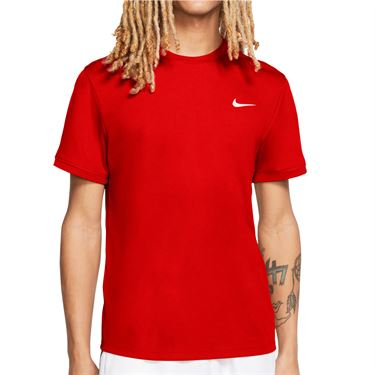 Nike Court Dri Fit Crew Shirt Mens Habanero Red/White 939134 634