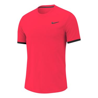 Nike Court Dri Fit Crew Shirt Mens Laser Crimson/Gridiron 939134 644