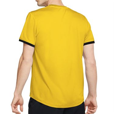 Nike Court Dri Fit Crew Shirt Mens Yellow/Black 939134 735