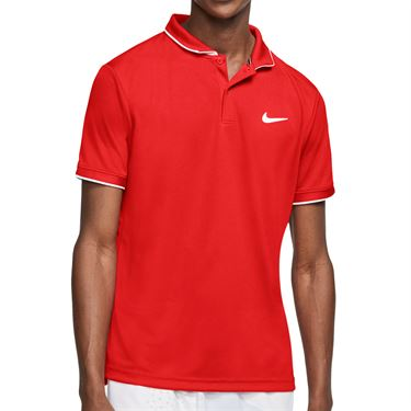 Nike Court Dry Polo Shirt Mens Habanero Red/White 939137 635