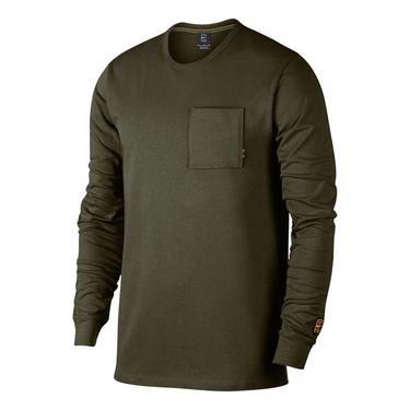 Nike Court Heritage Long Sleeve - Olive Canvas/White
