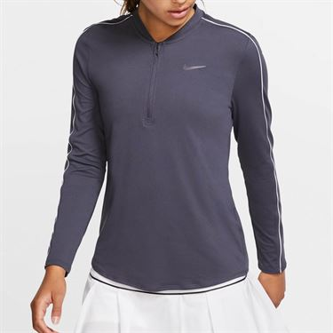Nike Court Dry 1/2 Zip Long Sleeve Top - Gridiron/White