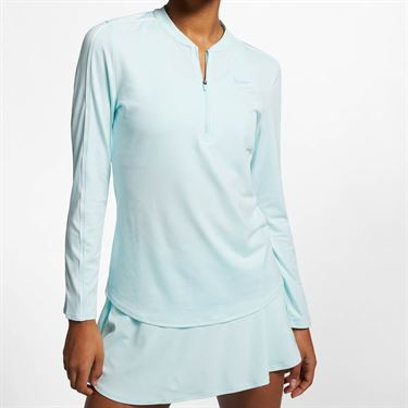 Nike Court Dry 1/2 Zip Top - Teal Tint/White