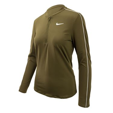 Nike Court Dry 1/2 Zip Top - Olive Canvas/White