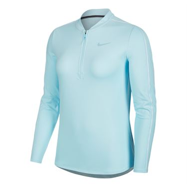 Nike Court Dry Long Sleeve 1/2 Zip Top - Topaz Mist/White