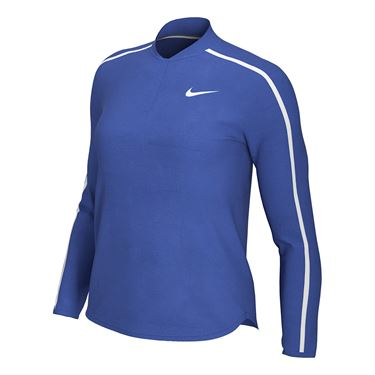 Nike Court Dry 1/2 Zip Long Sleeve Top Womens Game Royal/White 939322 480