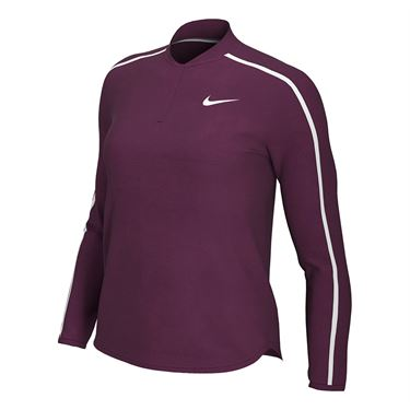 Nike Court Dry 1/2 Zip Long Sleeve Top Womens Bordeaux/White 939322 610