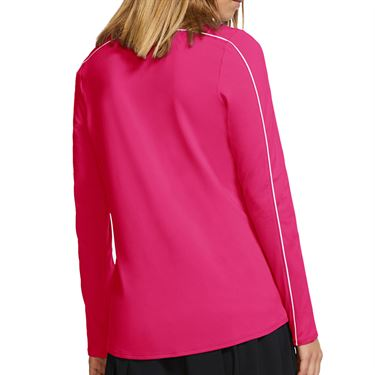 Nike Court Dry 1/2 Zip Long Sleeve Top Womens Rush Vivid Pink/White 939322 616