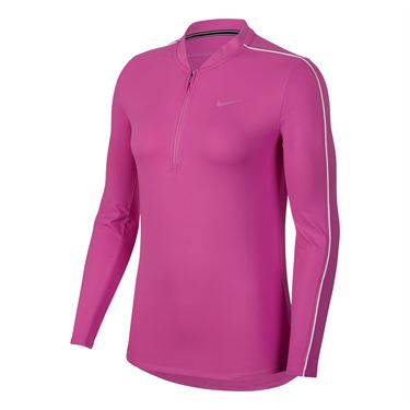 Nike Court Dry Long Sleeve 1/2 Zip Top - Active Fuchsia/White