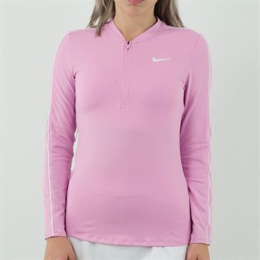 Nike Court Dry 1/2 Zip Long Sleeve Top Womens Pink Rise/White 939322 629