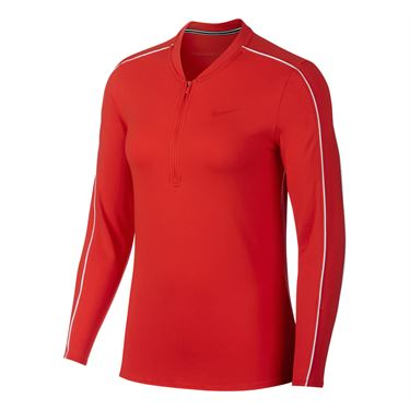 Nike Court Dry 1/2 Zip Top - Habanero Red/White