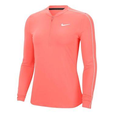 Nike Court Dry 1/2 Zip Long Sleeve Top Womens Sunblush/White 939322 655