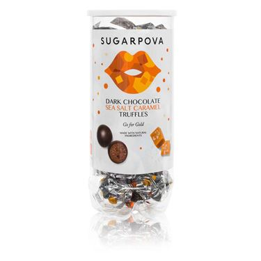 Sugarpova Truffles Dark Chocolate/Sea Salt Carmel Gold Can