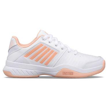 K Swiss Court Express Womens Tennis Shoe White/Peach Nectar 95443 171