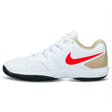 Nike Air Zoom Prestige Mens Tennis Shoe - White/Bright Crimson/Bio Beige/Black