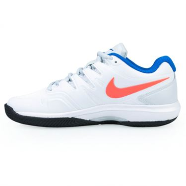 Nike Air Zoom Prestige Clay Womens Tennis Shoe - White/Hot Lava/Pure Platinum/Blue
