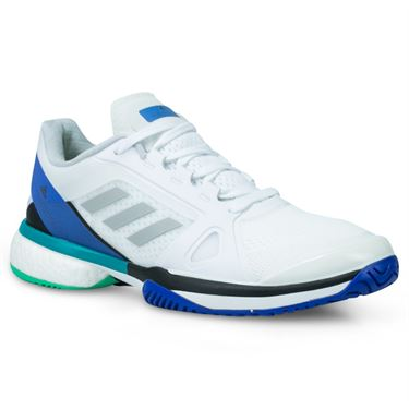 adidas ASMC Barricade Boost Womens Tennis Shoe - White/Stone/Ray Blue