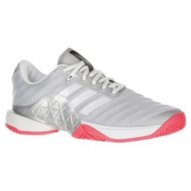 adidas Barricade 2018 Womens Tennis Shoe - Matte Silver/White/Flash Red