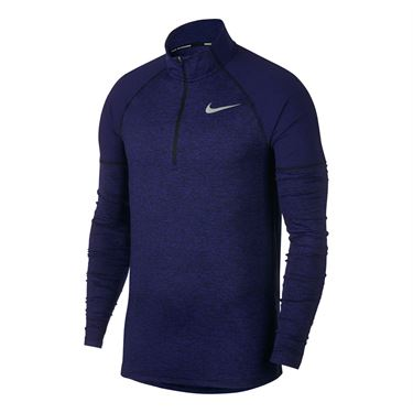 Nike Element Long Sleeve Shirt - Black/Regency Purple/Heather